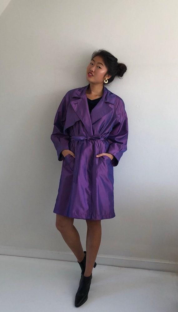 90s Purple Metallic Polyester Belted Trench Coat / Deadstock Short Padded Shoulder Raglan Sleeve Iridescent Trench Rain Coat | S M L by Etsy