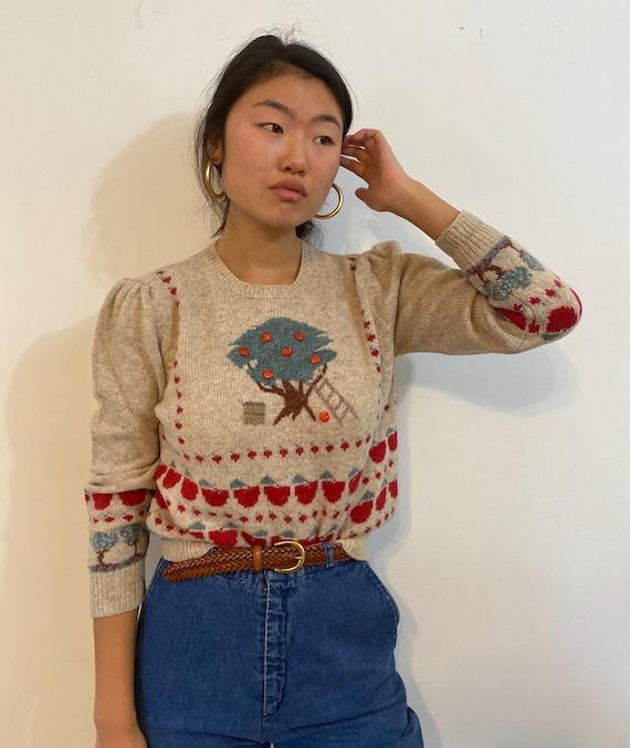 80s scenic puff sleeve sweater / vintage cream wo… - image 5