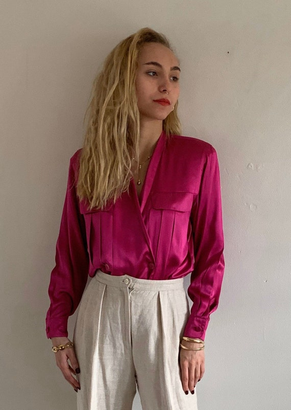80s silk charmeuse wrap front blouse / vintage mag