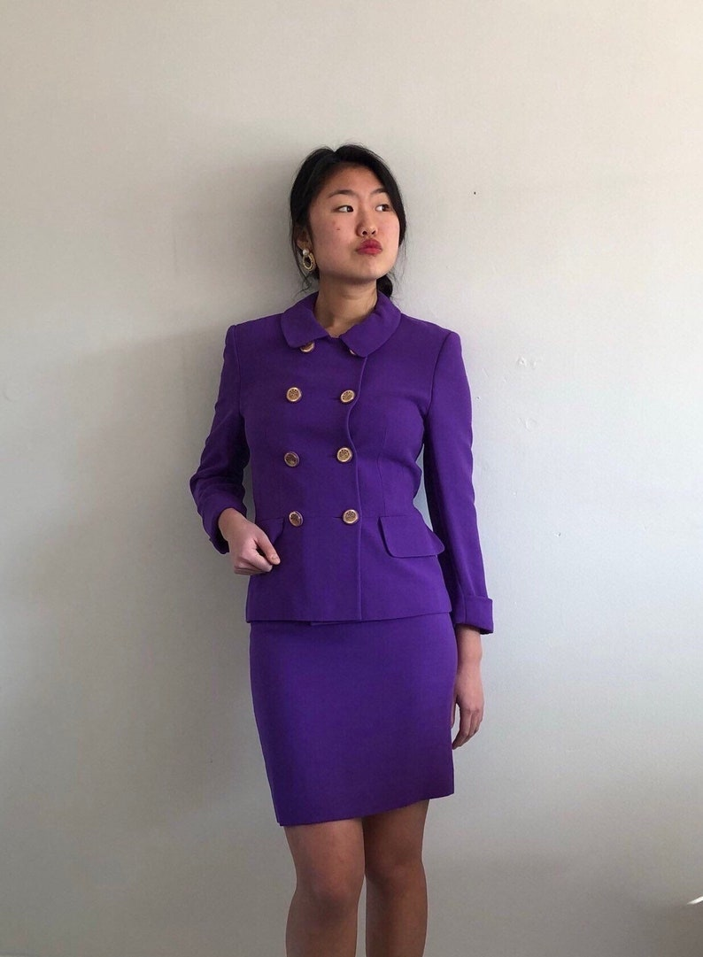 3574aee83ac 80s Louis Feraud wool double breasted dress skirt suit / vintage purple  wool skirt suit double breasted Chanel blazer + wool mini skirt