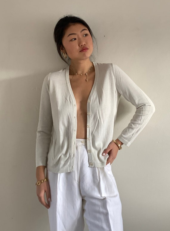 90s silk button front sweater / vintage pearl gra… - image 7