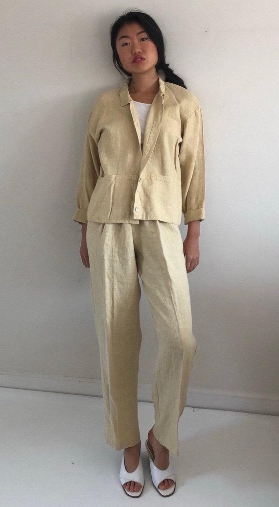 80s linen pant suit / vintage buttercream raw wov… - image 4