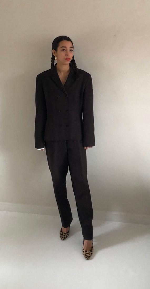 90s Bill Blass pant suit / vintage chocolate brow… - image 5