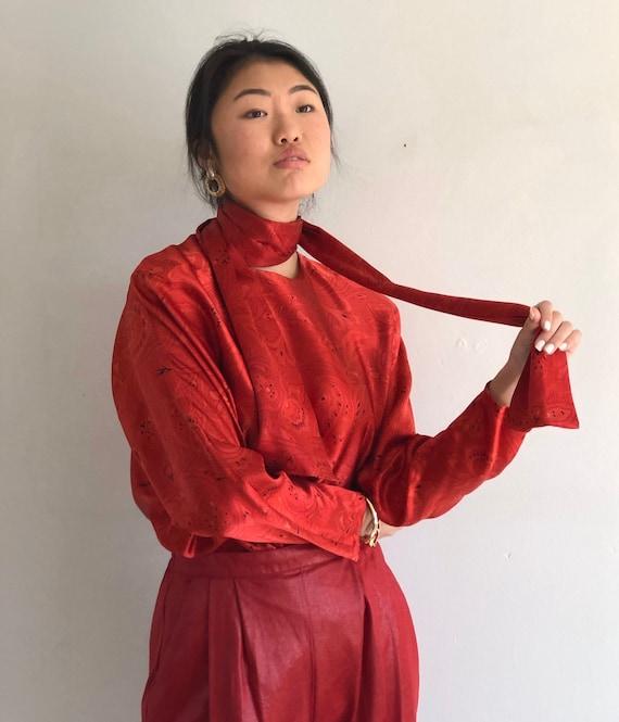 80s Ellen Tracy silk charmeuse batwing blouse / vi