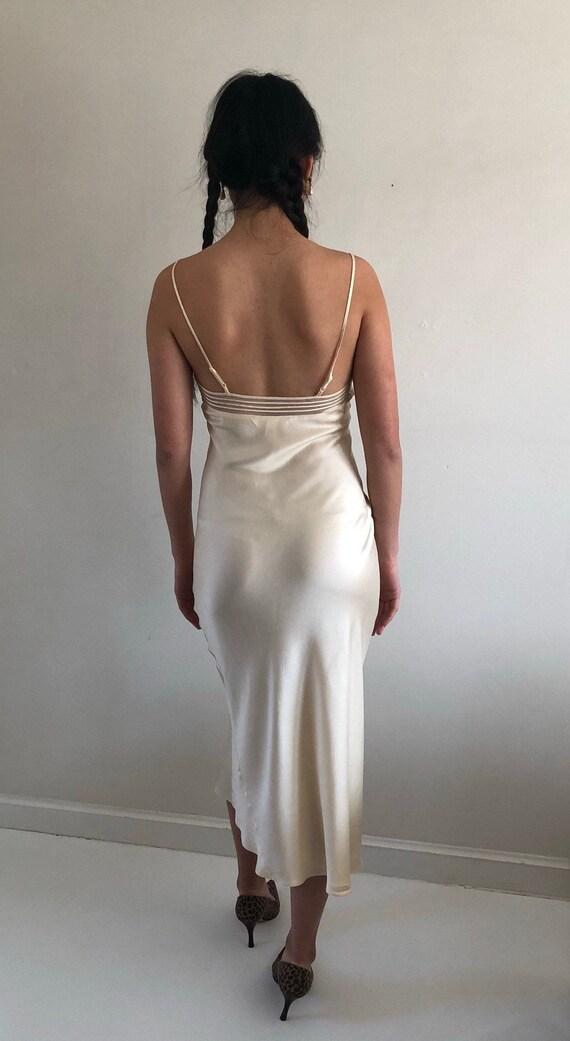 90s silk charmeuse long slip dress / vintage crea… - image 5