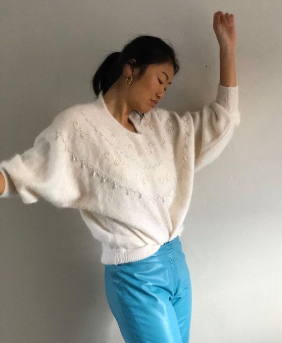 90s angora batwing beaded sweater / vintage white