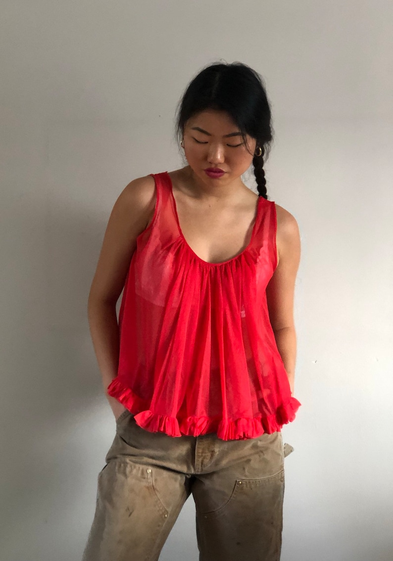 60s sheer babydoll blouse  vintage neon red cropped frilly sleeveless swing top  sheer red ruffled gathered sleeveless crop top M