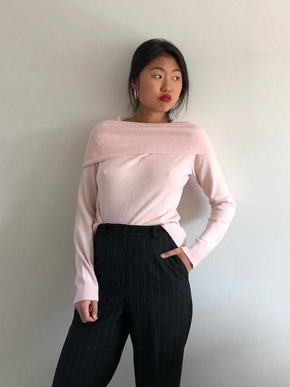 90s Off Shoulder Cowl Neck Blush Sweater Pale Pink Cowl Neck Etsy