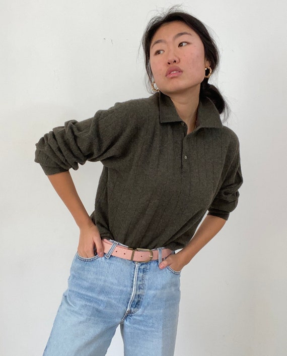 90s collared cashmere henley sweater / vintage mos