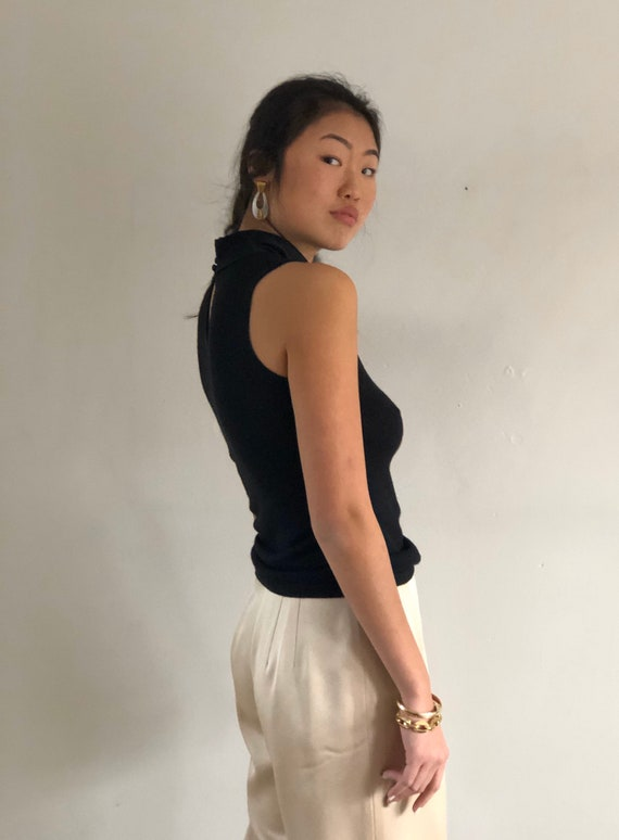 90s silk + cashmere pussy bow sweater tank / vint… - image 3