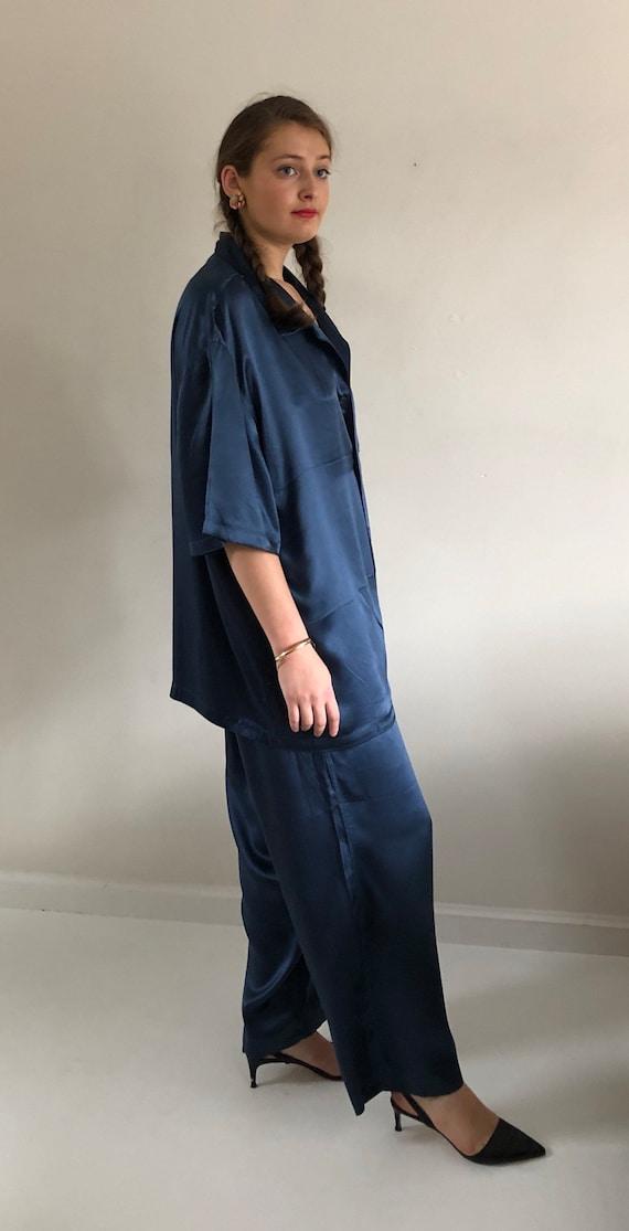 90s silk charmeuse pant suit / vintage blue liqui… - image 6