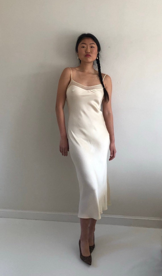 90s silk charmeuse long slip dress / vintage crea… - image 2