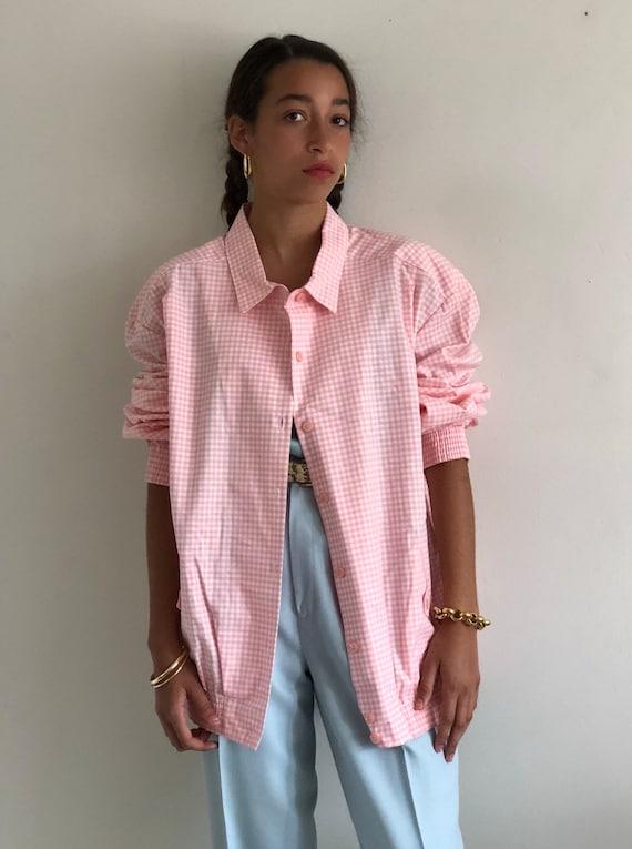 80s gingham bomber jacket / vintage pink cotton g… - image 1