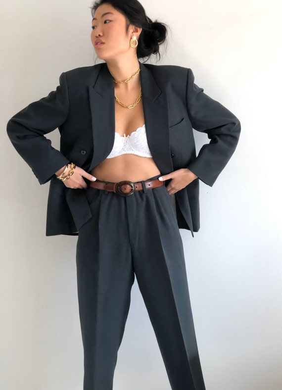 90s double breasted wool pant suit / vintage over… - image 7