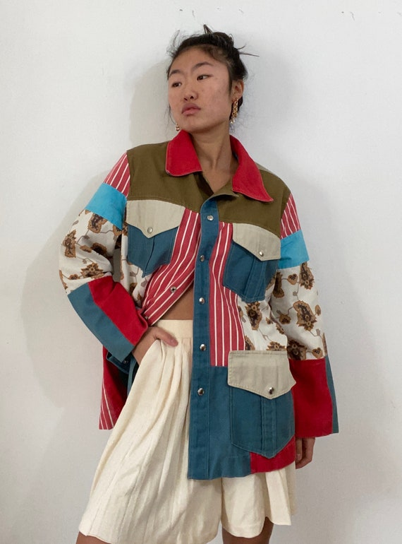 70s patchwork quilt chore coat / hand made vintage