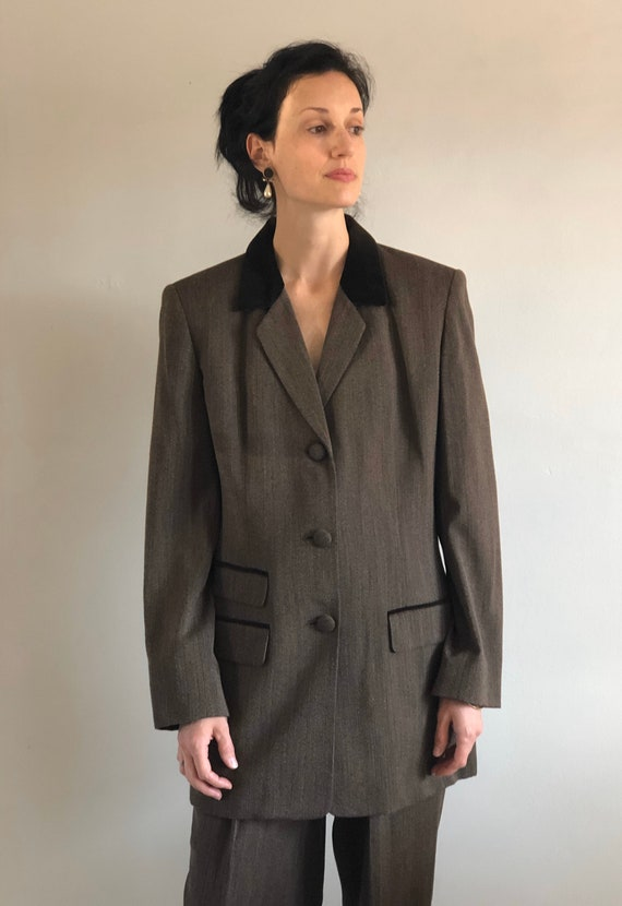 90s tweed pant suit / vintage wool brown equestri… - image 4