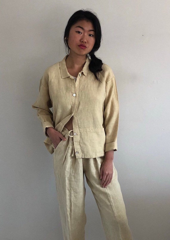 80s linen pant suit / vintage buttercream raw wov… - image 2