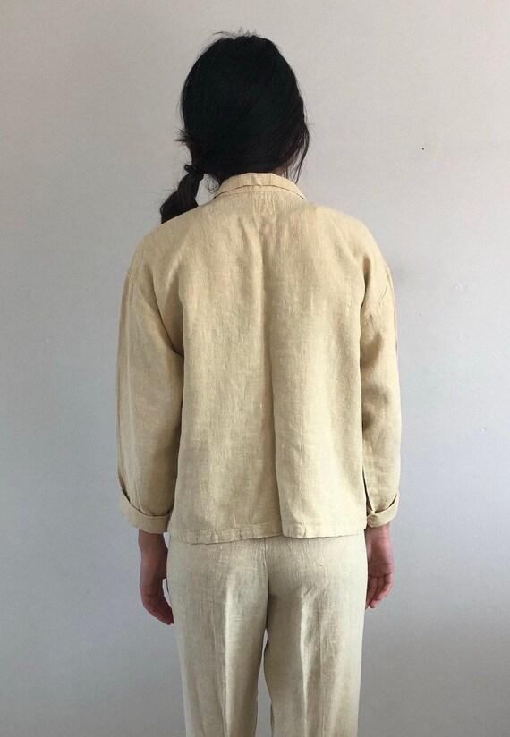 80s linen pant suit / vintage buttercream raw wov… - image 10
