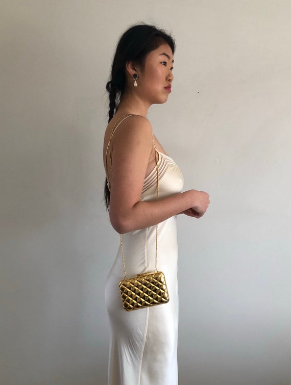 90s silk charmeuse long slip dress / vintage crea… - image 7