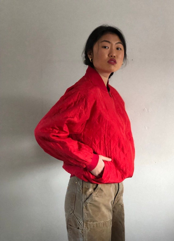 90s silk bomber jacket / vintage red silk liner bo