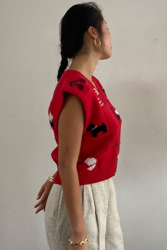 80s hand knit folk sweater vest gilet / vintage r… - image 6