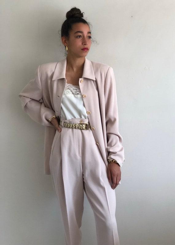 90s pant suit / vintage orchid blush ribbed 3 pie… - image 4
