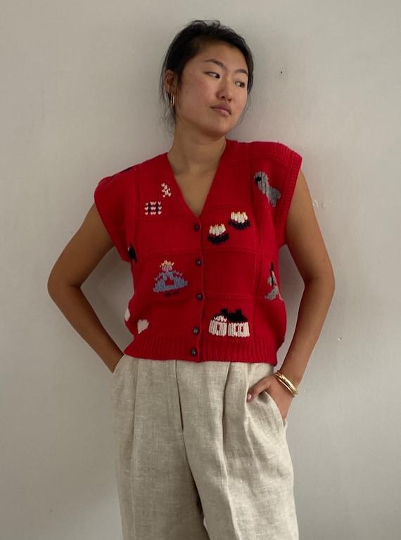 80s hand knit folk sweater vest gilet / vintage r… - image 9