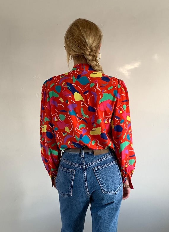 90s mandarin puff sleeve blouse / vintage red abs… - image 4