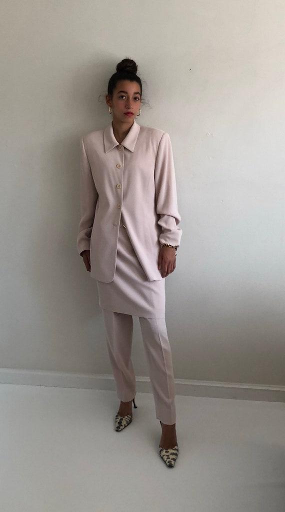 90s pant suit / vintage orchid blush ribbed 3 pie… - image 5