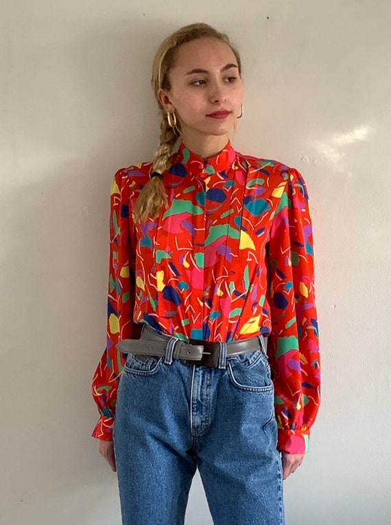 90s mandarin puff sleeve blouse / vintage red abs… - image 1