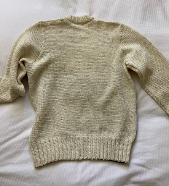 70s hand knit scenic farm sheep sweater / vintage… - image 3