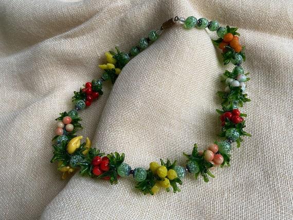 60s Murano glass fruit necklace / vintage Venetian