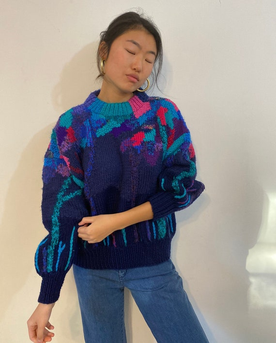 80s hand knit scenic sweater / vintage navy blue … - image 9