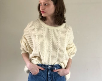 80s ivory cable knit oversized sweater / acrylic fishermans knit aran sweater / slouchy boyfriend sweater | XL