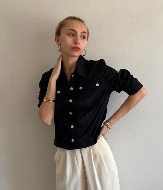 90s silk + cotton cropped blouse / vintage black c