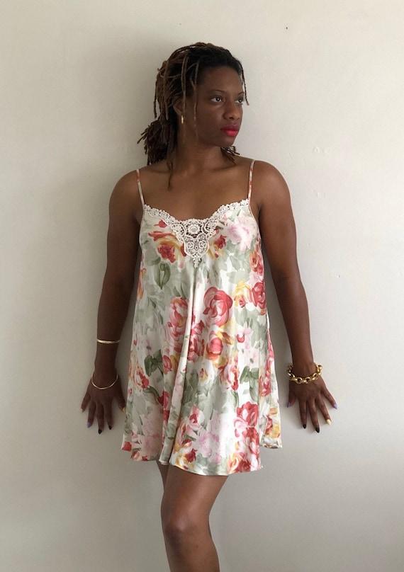 80s silk charmeuse slip dress / vintage pastel wat
