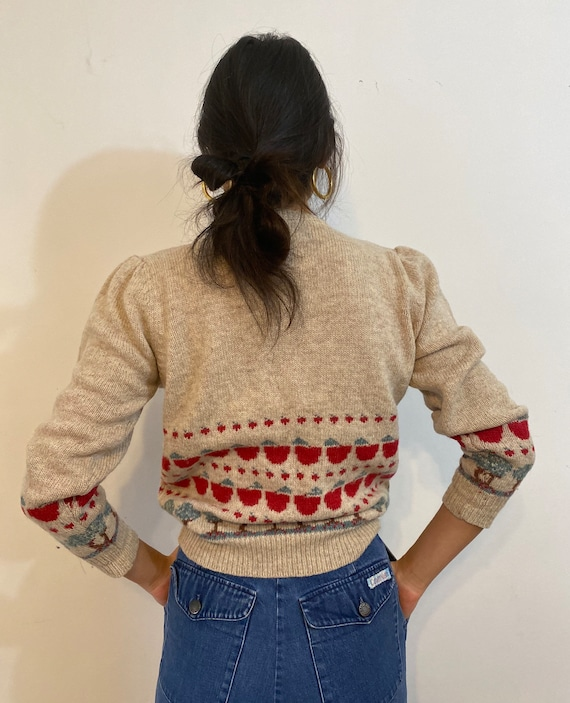 80s scenic puff sleeve sweater / vintage cream wo… - image 8