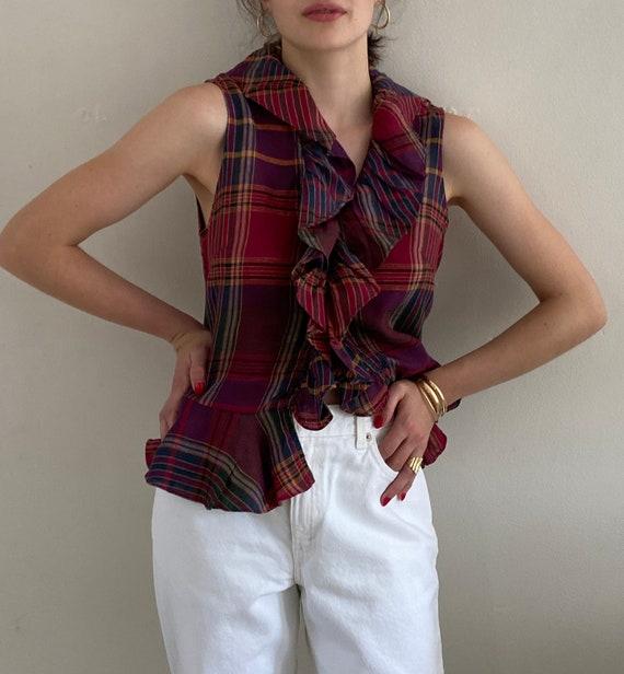 90s Ralph Lauren linen ruffle blouse / vintage ma… - image 4