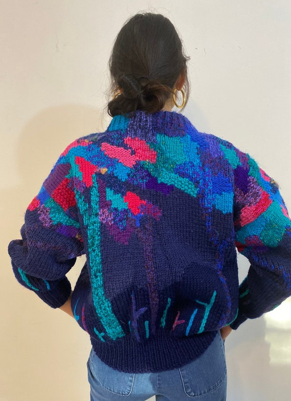 80s hand knit scenic sweater / vintage navy blue … - image 8