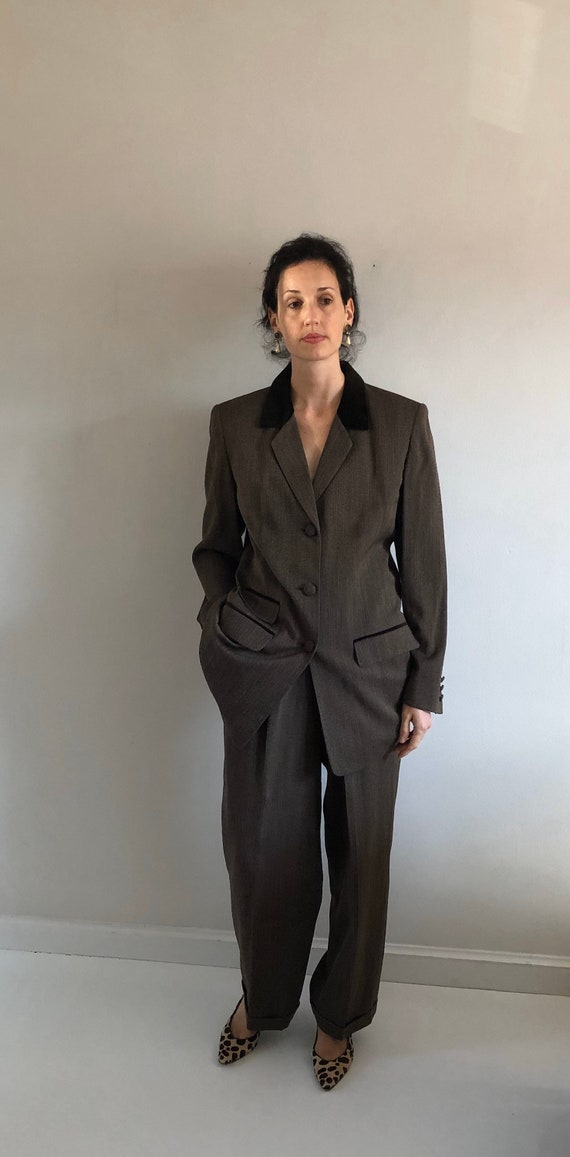 90s tweed pant suit / vintage wool brown equestri… - image 1