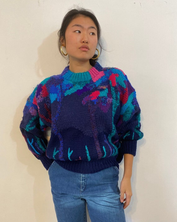 80s hand knit scenic sweater / vintage navy blue … - image 7
