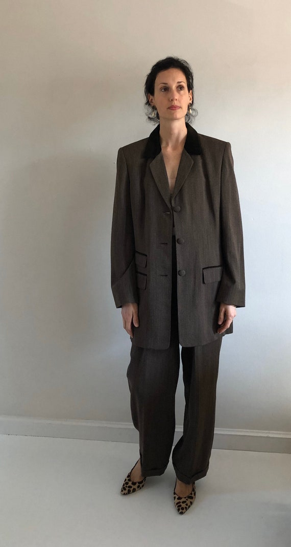 90s tweed pant suit / vintage wool brown equestri… - image 5