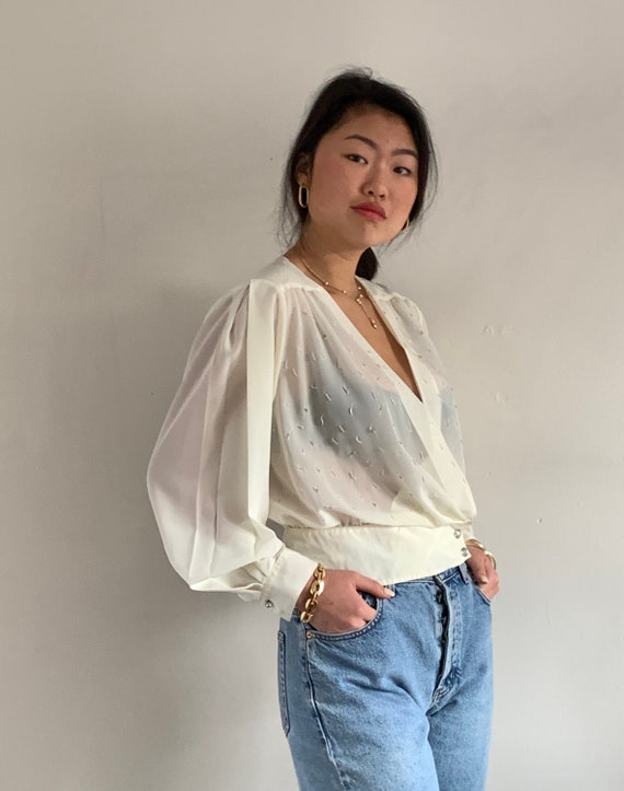 80s sheer cropped wrap blouse / vintage ivory shee
