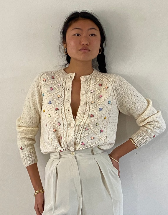 60s hand knit embroidered cardigan sweater / vinta