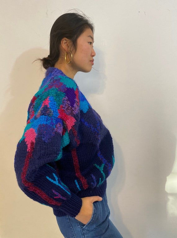 80s hand knit scenic sweater / vintage navy blue … - image 6