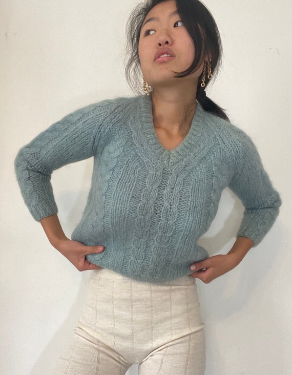 50s hand knit mohair sweater / vintage baby blue h