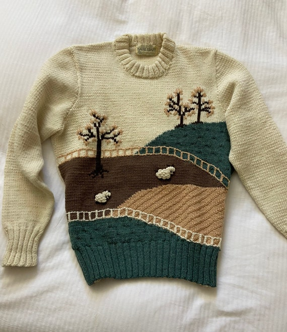 70s hand knit scenic farm sheep sweater / vintage… - image 6