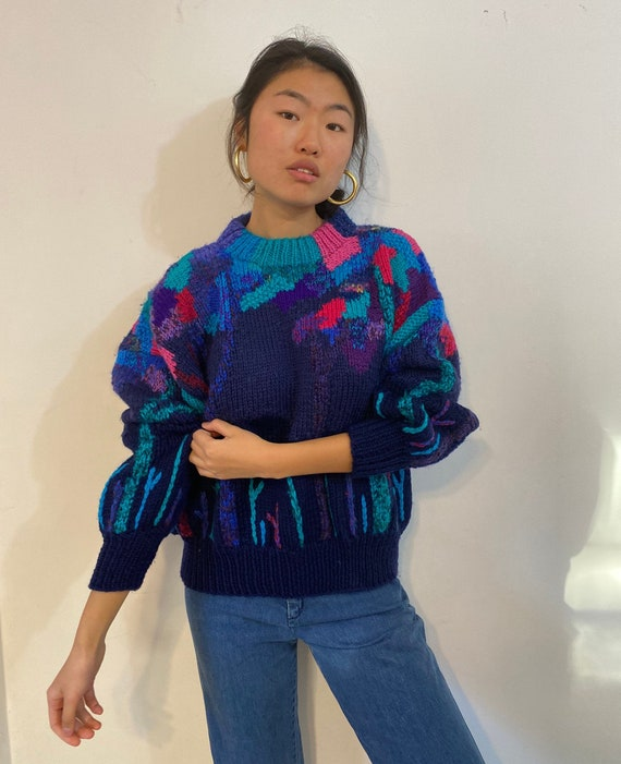 80s hand knit scenic sweater / vintage navy blue … - image 3