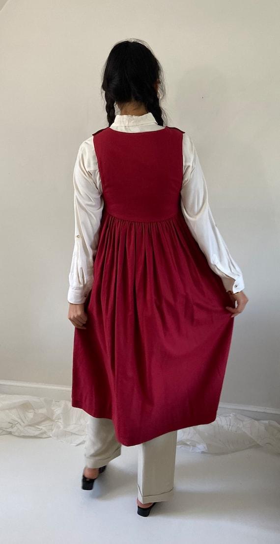80s Laura Ashley pinafore dress / vintage garnet … - image 8