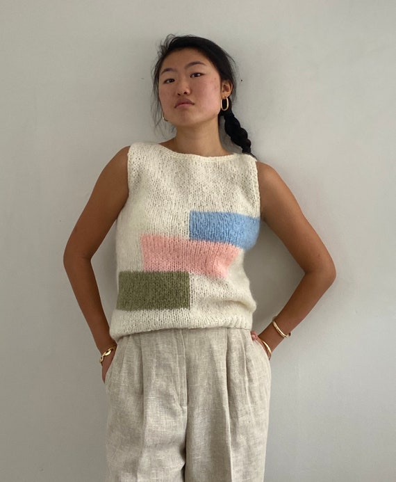 50s mohair hand knit sweater vest / vintage hand k